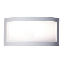 A19 - Translucency Wall Sconce - This simple wall sconce creates a beautiful ambience all on its own. Open on both ends, light washes the wall adding to the ambiance of any setting The ceramic frame is finished in a satin white acrylic finish. The panel is made of translucent Duraflex film, which emits an appealing glow. The effect is refreshing yet dramatic. The frame is also available in a number of colors and faux finishes ranging from rustic metals to rich glossy glaze.