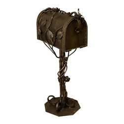 Julien Wrought Iron Mailbox and Post Set - Burnished Bronze - The elegant style of this mailbox and post set is evident in its beautiful vine and floral detail and rich Antique Gold finish. A charming addition to any home, this mailbox is made of durable wrought iron and will last for many years to come.