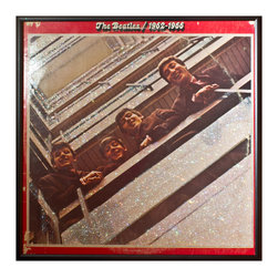 """Glittered Beatles 1962-66 Album - Glittered record album. Album is framed in a black 12x12"""" square frame with front and back cover and clips holding the record in place on the back. Album covers are original vintage covers."""