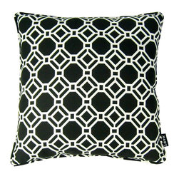 Lava - Gate Midnight 18 x 18 Pillow (Indoor/Outdoor) - 100% polyester cover and fill. Made in USA. Spot clean only. Safe for use indoors or out.