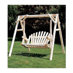 """Rustic Cedar - 5"""" Fanback Style Cedar Garden Swing - Cedar pole construction incorporates fan back styling, seating for two and a classic A-frame design that will fit anywhere.  Picture this cottage fresh cedar swing set on your patio or deck.  Add a little old-fashioned charm to your front porch or backyard setting with this Fanback Style Cedar 5 Ft.  Refreshing light cedar finish is ideal for active outdoor living.  Order yours today at this great price! * Add a little old-fashioned charm to your front porch or backyard setting with this Fanback Style Cedar 5 Ft.. Garden Swing.. Crafted from aromatic solid Cedar, this beautiful Fanback Swing will provide years of enjoyment, season in and season out.. 87 in. W x 64 in. W. Weight: 108lbs."""
