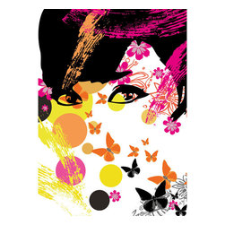 Floral Girl Wall Mural - Artistic expression is in full effect with this colorful one of a kind wall mural.