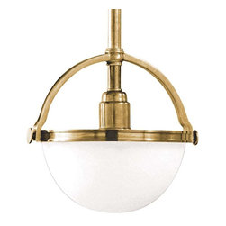 Hudson Valley Lighting - Hudson Valley Lighting 3311-AGB Pendant Light in Aged Brass - Hudson Valley Lighting 3311-AGB Stratford Collection Transitional Pendant Light in Aged Brass