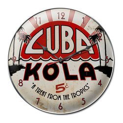 The Vintage Sign Store - Cuba Kola Clock - Cuba Kola Tropical Vintage Metal Clock 14 X 14 Steel Not Tin. This Cuba Kola clock measures 14 inches by 14 inches and weighs in at 3 lb(s). This clock is hand made in the USA using heavy gauge american steel and a process known as sublimation, where the image is baked into a powder coating for a durable and long lasting finish. This clock includes an American made quartz clock movement (requires one AA battery) for years of accurate time keeping and is covered with a clear acrylic lens.