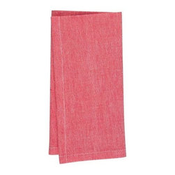 KAF Home - Chambrey Napkin - Red, Set of 4 - The unique stitching on these chambray napkins brings a strong sense of formality to the kitchen table. Exquisitely soft to the touch and available in a range of striking colors.