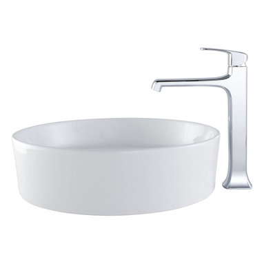 Kraus - Kraus C-KCV-140-15200CH White Round Ceramic Sink and Decorum Faucet - Add a touch of elegance to your bathroom with a ceramic sink combo from Kraus
