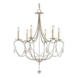 Currey & Company - Currey & Company Small Crystal Lights Chandelier CC-9890 - A classic design is executed with a silver finish. A lovely form is augmented by a simple crystal trim making it perfect for many interiors. This Small Crystal Light Chandelier is companion to a number of other designs in this style.