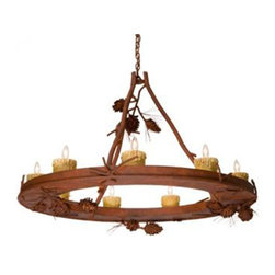 Steel Partners Inc - Chandelier - Steel Creek - PONDEROSA PINE (9 Candle Lights) - Every piece we create is unique — handcrafted at our factory in Chehalis, Washington, USA. Due to this, lead times are 2 to 4 weeks.