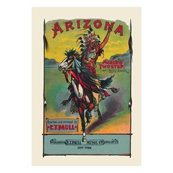 """Buyenlarge.com, Inc. - Arizona: March and Two-Step- Paper Poster 12"""" x 18"""" - Edward Taylor Paull (1858 - 1924) was a prolific publisher of sheet music marches. His songs gained acclaim more from the cover art of the sheet music than often from the lyrics and tune."""