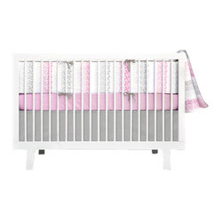 Olli and Lime - Pinwheel 4-piece Crib Set, Pink and Gray - You will love the polished look of this modern bedding set. The pink looks sophisticated against the gray, and the bumper design is playful and fun. This would make a dreamy nursery for a baby girl.