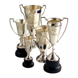 Kathy Kuo Home - Victoria Set of 5 Hollywood Regency  Engraved Vintage Trophies - This set of vintage trophies takes first place. Each is engraved with a different crest and has a polished silver interior. Capturing the essence of Hollywood Regency style, they'll add an instant dose of glamour wherever you decide to showcase them.