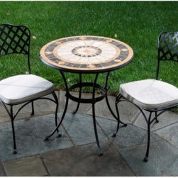 Compass Mosaic Patio Bistro Set - Bring the beauty of France to your own backyard with the Compass Mosaic Patio Bistro Set. Accenting shades of gold set off the sophisticated beauty of the tile work and its sunburst pattern. Made with great care and quality, the table frame is crafted from hand forged wrought iron dipped in a zinc-phosphate bath and E-coated to create a weather-resistant coating. It's finished with a powder coating to provide an extra layer of rust-resistant protection. Hand laid mosaic tiles shows off the expert craftsmanship of this table. With tiles made from natural sources such as marble, slate, and travertine, there is a slight color variation between tables so that no two tables are exactly the same. The top is then grouted with industrial adhesives for durability so the natural beauty of this table is maintained. Its two person design is perfect for dates, intimate conversations, and time by yourself in the peace and serenity of your backyard. Fully welded chairs ensure that there is no hardware to loosen over time, causing them to fall apart. Its basket-weave design adds an elegant and classic look to this bistro set. Comfortable cushions in natural tones are included and complement your existing decor. You'll find yourself letting your office know that you'll be working from home so you can spend time outdoors in the sun enjoying the warmth of summer and the beauty of this table instead of being stuck behind your desk. Additional Features Beautiful, warm tones with accenting touches of gold Simple and sophisticated pattern Beautiful bistro chairs with a weave style back Table frame is weather and rust resistant Made with rust proof stainless steel hardware Iron has a thickness of 5mm to 6mm Mosaic tiles are hand-set Tiles come from natural sources Sources include marble, slate, and travertine Colors will vary slightly on each table No 2 tables are exactly alike Grouted with industrial adhesives for durability Fully welded dining chairs hold up for years Includes water and fade resistant cushions Easy to clean with mild soap and water Includes 2 chairs, 1 table with base Some assembly required 1 year limited warranty About Mosaic Table TopsThe mosaic tiles are hand-set and grouted with industrial adhesives for maximum durability. What this means is if the mosaic top gets wet, the grout won't dry out and crack like traditional standard grout would. The top is then finished and sealed with an industrial-grade sealant called Fluorocarbon for superior protection. Natural wear and tear of elements may lead to blistering of the silicone top seal and natural aging of the tile materials. The hand-forged wrought-iron table frame is dipped in a zinc-phosphate bath and then electrostatically coated to help create a weather-resistant coating to delay the onset of rust. Following a quality check for strength and durability, iron welds are ground for aesthetic appeal. Finally, a powder-coated finish is applied and baked onto the iron for stronger color and protection. As fetching as it is functional, this is a piece that will never go out of style. About Alfresco HomeOffering a wide selection of fashionable products, from casual furniture and garden lighting to permanent botanicals and seasonal decor, Alfresco Home casual living products offer a complete line of interior and exterior living furnishings and accents. Based out of King of Prussia, Penn., Alfresco Home continues to blend indoor and outdoor furniture to create a lifestyle of alfresco living inside and outside of the home. Inlaid mosaic tabletops, fine hardwood furnishings, artisan-inspired accents, premium silk botanicals, and all-weather wicker sets are just a few examples of the kind of treasures you'll find in Alfresco's specially designed collections.Please note this product does not ship to Pennsylvania.