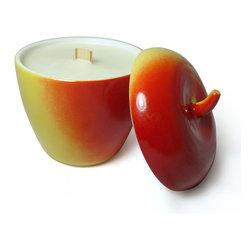 Craft Caboodle - Vintage Soy Candle With Wood Wick in Hazel-Atlas Apple Jar - Hand poured vintage soy candle with wood wick is made in an adorable vintage Hazel-Atlas apple-shaped milk glass jelly jar.