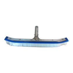 SUNSOLAR - Swimming Pool Cleaning Curved Brush 18 With Aluminum Back And Nylon Bristles - This rugged pool brush is perfect for cleaning your pool wall. The curved edge makes getting into the hard to reach areas easier. Thick, nylon bristles will remove most stubborn dirt and stains. Perfect for use on concrete, fibreglass and vinyl pools. The wide face is reinforced with die-cast aluminum and the nylon bristles will give you years of use. The quick-release handle fits any standard size telescopic pole. This nylon curved brush will keep your walls clean of algae and grime.