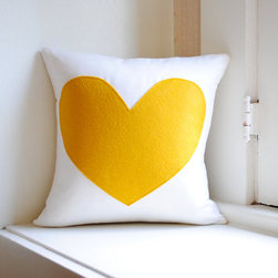Heart Pillow Cover, White Linen and Yellow by Pillow Factory - This pillow is darling. The yellow heart reminds me of sunny days and all things happy. I'd love to use it in any room of my house.