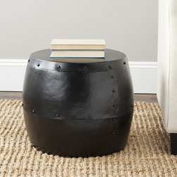 Safavieh - Safavieh Cerium Black Iron Drum Stool - Add something unique and stylish to your living space with this Safavieh drum stool. This sophisiticated piece will not only enhance any room it's in, but it's sturdy enough to be used as a convenient little table for drinks or ornaments.