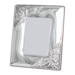 """Silverstar International - 3.5""""x5"""" Bijou II Silver Sterling Picture Frame - Personalize our Bijou silver wedding anniverary picture frame and create a personalized keepsake to treasure for a lifetime. Featuring a handcrafted embossed repousse sterling silver frame with an intricate floral motif embossed in the upper left and lower right corners, the Silverstar International bi-laminated 925 Sterling Silver picture frame is meticulously manufactured to an aluminum base for strength & attached to a veneer mahogany wooden back and easel. Every Silverstar picture frame is designed with a tarnish resistant surface for easy cleaning and glare resistant glass."""