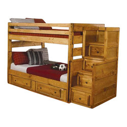 Coaster - Coaster Wrangle Hill Full Over Full Wood Bunk Bed in Amber Wash - Coaster - Bunk Beds - 460096 - Create a fun and youthful look in your child's bedroom with this full over full bunk bed. The Optional under-bed dresser includes two drawers for clothing extra linens toys and miscellaneous items. Space saving designs continue with the Optional staircase chest with four additional storage drawers! No need to worry about safety for the durable full length guard rails will provide security. Whether your children share a room or you are looking for a refreshing unique style this bunk will make a wonderful addition to your home.