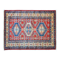 Area Rug, Geometric Fine Kazak 3'X4' Hand Knotted 100% Wool Rug SH11158 - This collections consists of well known classical southwestern designs like Kazaks, Serapis, Herizs, Mamluks, Kilims, and Bokaras. These tribal motifs are very popular down in the South and especially out west.