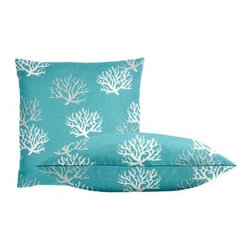 """Cushion Source - Turquoise Coral Throw Pillow Set - The Turquoise Coral Throw Pillow Set consists of two 18"""" x 18"""" cotton duck throw pillows with a nautical coral print in gray and natural on a turquoise background.."""