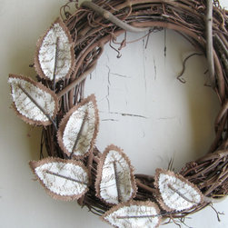 Fabric Leaf Wreath Antique Script by janejoss on Etsy -