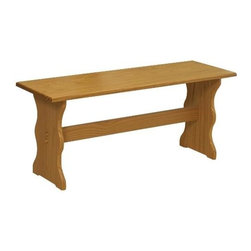 Linon - Wooden Nook Bench in Natural Finish - This 40 inch wide wooden bench is constructed of solid Brazilian pinewood and features a rich honey colored finish that lets the wood's natural beauty show through.  The cottage inspired lines and trestle base are are ideal for most country decors.  Discover how efficient and delightful a dining bench can be when you order this forty inch wide bench made from a durable solid Brazilian pinewood construction.  Its wonderful and warm honey colored finish and trestle base offer nothing but charm. Chelsea Collection. Table and corner unit not included. Durable Brazilian pine wood construction. Minimal assembly required. 43.25 in. W x 13 in. D x 17 in. H (17.60 lbs.)Create a cozy spot for meals and conversation in any corner of the kitchen. The rich honey pine finish on this corner nook provides a traditional look to this highly functional piece.