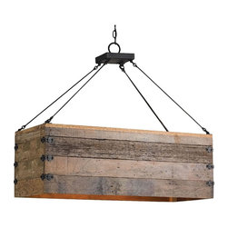 """Reclaimed wood crate chandelier - 12"""" x 12"""" x 36"""" crate plus iron plate and rods."""