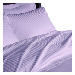 Hothaat - 600TC Stripe Lilac Queen Fitted Sheet & 2 Pillowcases - Redefine your everyday elegance with these luxuriously super soft Fitted Sheet. This is 100% Egyptian Cotton Superior quality Fitted Sheet that are truly worthy of a classy and elegant look.