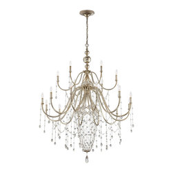 Eurofase - Collana Chandelier - Collana Chandelier features hand finished silver leaf with polished crystal and fine chainlink. Available in 4-light, 6-light, 9-light or 18-light versions. Either (4), (6), (9), or (18) 60-watt, 120 volt B10 candelabra base incandescent bulbs are required, but not included. Dimensions: 4-light: 17.25W x 28H. 6-light: 25W x 33.75H. 9-light: 31W x 44.25H. 18-light: 43.5W x 59.5H.