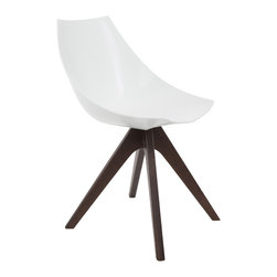 American Atelier - Alex Chair with White Seat and Brown Legs - Enjoy this modern designed chair from American Atelier Living by Jay. This contemporary chair is made of polypropylene and has wooden legs.