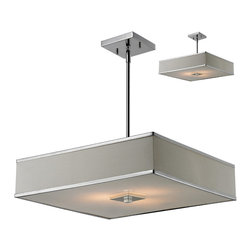 Z-Lite - 'Rego' Chrome 3-light Pendant - A white linen rectangular shade defines this elegant pendant,as does its complimentary chrome hardware. This fixture comes with an acrylic diffuser to soften the light and hardware to hang as a semi-flush mount.