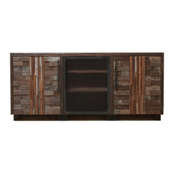 Blake Avenue - Shenandoah Cabinet - This piece combines materials that speak both a rustic and industrial language. Formed with lines that blend subtle Asian influence with a contemporary aesthetic echoing Mid Century Modern master, Frank Lloyd Wright. Very sustainable, super eco friendly, the iron steel was milled with recycled material and the wood was salvaged from nearly 120 year old Southern California architecture. Each piece is made to order and carries it's own amazing history!