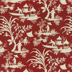Crystal Lake Lacquer Fabric - This red and white Chinoiserie toile would be perfect for curtains.