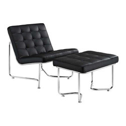 Modway - Gibraltar Lounge Chair in Black - Some passageways last miles, and others only as long as your cup of coffee. While the geographical symbolism behind the name is something profound unto itself, this modern lounge piece is no less impressive. Fashionably upright, with a perfect tilt backwards, Gibraltar connotes relaxation with a purpose. While some lounge chairs may lull you to sleep, the modernism latent in Gibraltar encourages the active pursuit of ideals. With its fashionably buttoned padded vinyl cushions, and polished stainless steel base, this set reminds us that all narrow pathways are met with a bountiful opening at the end.