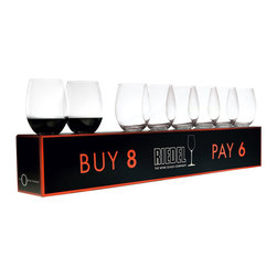 Riedel - Riedel O Cabernet/Merlot Buy 8 Pay 6 Glasses - Set of 8 - Stylish, practical and fun, THE 'O' WINE TUMBLER (2004) is the original varietal specific wine tumbler. This value set includes 8 x stemless Cabernet tumblers, for the price of only 6.