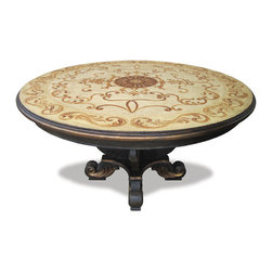 Koenig Collection - Old World Traditional Round Table Bloomsfield, Black Baroque - Bloomsfield Round Table, Black Baroque with Cream