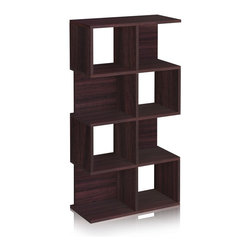 Way Basics - Way Basics 4 Shelf Malibu Bookcase Storage, Espresso - The Malibu is your perfect bookshelf. Its unique modern look will complement and adorn any room in your home or office.