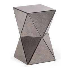 Zuo - Prism Side Table - The Prism Side Table is multifaceted in all the right ways. With it's just-right height, this modern accent table has geometric lines covered in smoky foxed mirror. It's unusual faceted shape is great for adding interest to a seating area. Or try grouping them in multiples for a unique modular coffee table. The Prism Side Table is covered in antiqued mirror, a low maintenance surface that is excellent for a frequently used tabletop surface. Buy one, two or a few for an unforgettable addition to your modern seating arrangement.
