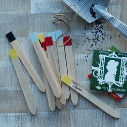Plant Markers, Dipped - These color-dipped wood markers can be wiped clean to use for next year.