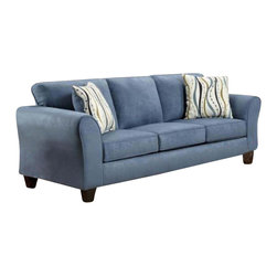 Chelsea Home - Modern Lehigh Sofa - Includes toss pillows. Patriot blue cover. Seating comfort: Medium. Kiln-dried hardwood frame. Stress points are reinforced with blocks to secure long lasting frame. Attached back cushions. Sinuous springing system manufactured with reinforced 16-gauge border wire. Double springs are used on the ends nearest the arms to give balance in the seating. Hi-density foam cores with dacron polyester wrap cushions. Cushions made with zippers. Made from microfiber. Made in USA. No assembly required. 88 in. L x 38 in. W x 38 in. H (140 lbs.)