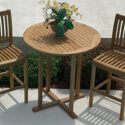 Royal Teak - Royal Teak Bar Height Patio Bistro Set Multicolor - P46BT - Shop for Tables and Chairs Sets from Hayneedle.com! The Royal Teak Bar Height Patio Bistro Set is a smart and fun way to enliven your patio garden or poolside area with modern style. Crafted from premium-grade teak wood this charming bar height patio dining set blends clean lines with a minimal elegance that effortlessly graces any outdoor space with a tasteful blend of modern and classic design. Teak wood boasts a high oil content that makes it naturally weather-resilient and low-maintenance ensuring a lifetime of adorning your home with style. The two bar height chairs feature quick-dry seating with mortise and tenon joints for safe and secure use.The open-slat chair design mirrors the table surface making for a beautiful and comfortable place to relax while you soak up the summer sun. Over time the teak's oil will inherit a natural silver shimmer that looks stunning.About TeakTeak wood is universally recognized for its quality durability and beauty. Teak is a very hard densely grained wood with high oil content. The unique combination of these characteristics makes teak naturally resistant to moisture rot warping shrinking splintering insects and fungus. It is considered the ideal wood for outdoor furniture. If left untreated teak weathers naturally to a beautiful silver gray color. The weathering process will change the color but the grain will still be smooth. There will be no splitting or splintering. You may treat each piece of your set with teak oil if you wish to retain the original wood color.