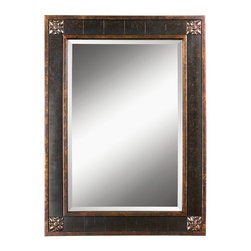 """Uttermost - Uttermost 14156 B Bergamo Vanity Mirror - Frame features a distressed chestnut brown finish with mottled black undertones, gold leaf details and a light tan glaze. Mirror has a generous 1 1/4"""" bevel."""