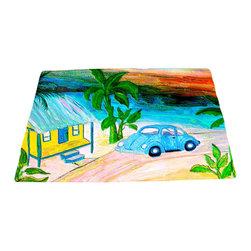 """xmarc - Beach Area Rugs, Surf Hut Blue Bug, 96""""W X 48""""Tall - Surf hut blue bug beach plush area rug from my art."""