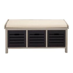 Stylish Elegant Wood 3-Drawer Fabric Bench - Description: