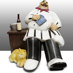 Fat Chef Kitchen Statue Sitting on Chair Table Art Decor - Beautiful Kitchen Counter Table Top Art Decoration fo Bistro Cook or Restaurant.