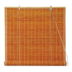 Oriental Furniture - Burnt Bamboo Roll Up Blinds - Honey 72 Inch, Width - 72 Inches - - Burnt bamboo roll up blinds are a versatile addition to any window.  They will fit in with any decor and are available in a wide variety of sizes.   Easy to hang and operate.  Available in five sizes, 24W, 36W, 48W, 60W and 72W.  All sizes measure 72 long. Oriental Furniture - WT-YJ1-8B6-2-72W