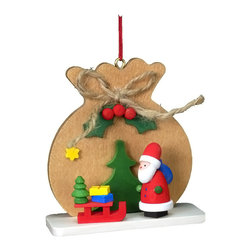 Alexander Taron - Christian Ulbricht Ornament - Santa with Brown Toy Sack - 2.5H x 2.5W x 1D - This brown sack has a Santa - his sled and a few presents to be seen. What other surprises are inside. Made in Germany from Christian Ulbricht. Hand painted wooden ornament.