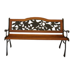 Pier Surplus - Rose Bloom Metal Park Bench - Cast Iron Bench for Yard or Garden #PB20006 - The rose bloom park bench features a lovely back inset that captures your heart and your imagination. The warm wood tones perfectly frame the bench's back, which matches the dark finish on the frame. A park bench like this one is a point of interest in your back yard as well as a great place to enjoy your garden. Built to withstand the elements, thanks to its durable cast iron frame.