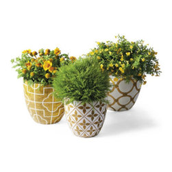 Grandin Road - Set of Three Addison Planters - Graduated, decorative planters with pesto finish. Crafted from lightweight and durable polyresin. Each is hand painted in a coordinating geometric patterns. Hand applied glossy urethane finish protects the fine finish from the elements. Individual craftsmanship means no two planters are exactly alike. Make a lasting impression at your threshold or on the patio: each of our three Addison polyresin pots is hand painted with a coordinating geometric pattern to resemble glazed ceramic. They're extra sturdy and lightweight, so go ahead: dig in. Fill yours with blooms or greenery and move it about the terrace or porch.  .  .  .  .  . All three nest perfectly upon our Blooming Flower Plant Stand . Imported.