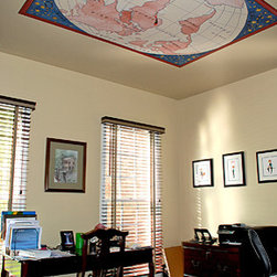 Custom Reusable Wallcovering Mural - Hand painted World Map printed on Casart Light - a repositionable, removable and reusable wallcovering that is lightweight for ceiling applications. This design can be customized to personal color choices.